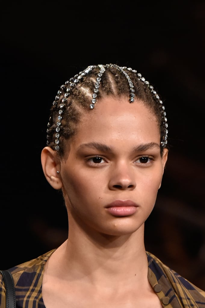 A Rhinestone Head Piece on the Khaite Runway at New York Fashion Week