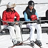 Carole Middleton wore a bright red jacket while her daughter Pippa Middleton wore a light blue fleece and black vest on a ski vacation in France.