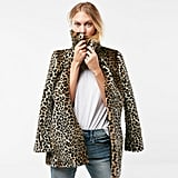 Express leopard faux fur coat