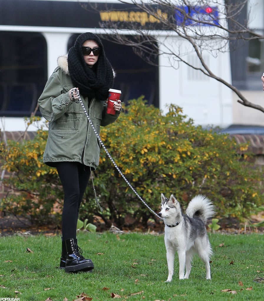 Miley Cyrus took her dog Floyd for a walk.
