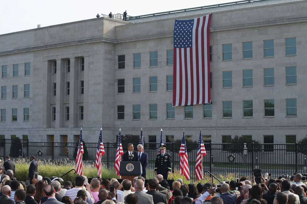 President Obama spoke at the Pentagon ceremonies in observance of the 9/11 attack in Arlington, VA.