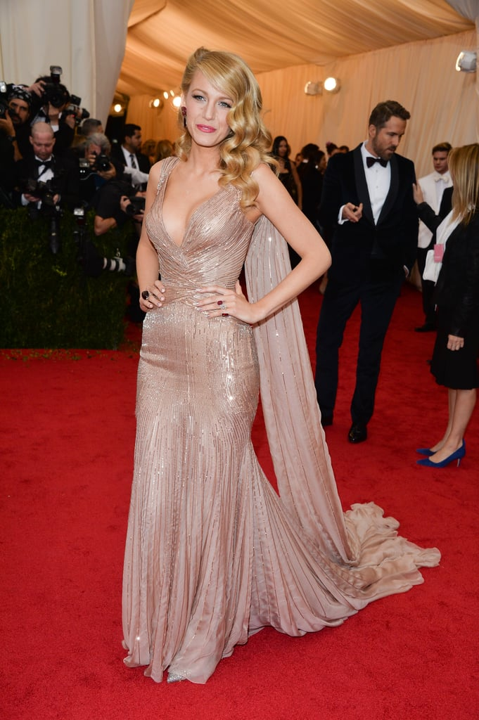 Wearing a Gucci dress to the 2014 Met Gala.