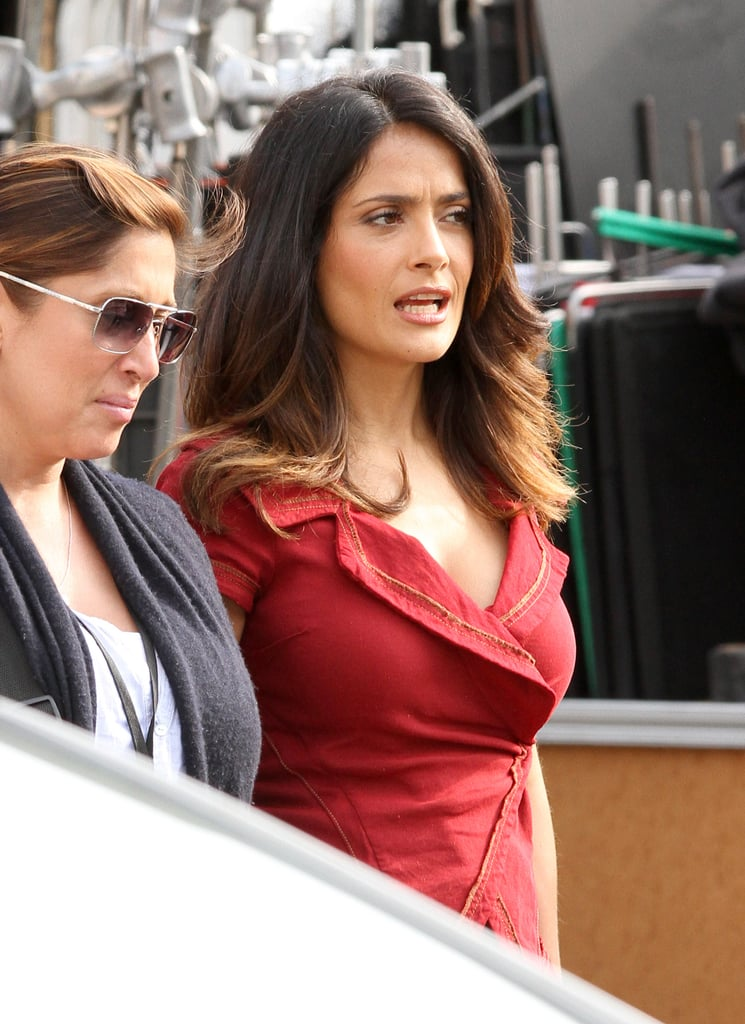 Salma Hayek suited up.