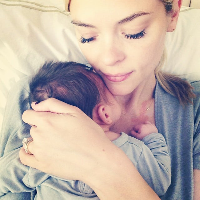Jaime King shared a sweet photo while cuddling with her newborn son, James Knight Newman. Source: Instagram user jaime_king