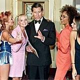 Mel C, Geri Halliwell, Emma Bunton, Prince Charles, Mel B, and Victoria Beckham