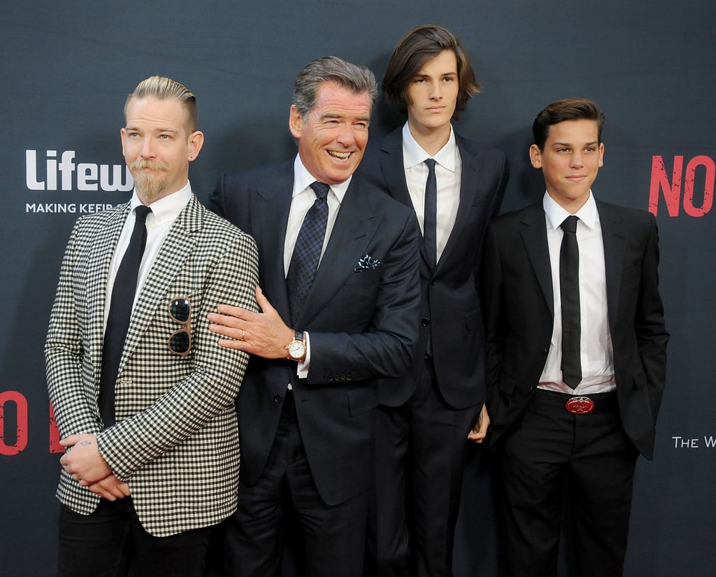 """Pierce Brosnan had the support of his three sons when he stepped out for the No Escape premiere in LA on Monday. The actor was all smiles as he posed for pictures with Sean, 31; Dylan, 18; and Paris, 14; joking around with them as the cameras flashed. Pierce had his son Sean with his first wife, the late Cassandra Harris, and he had his younger sons with his current wife, Keely Shaye Smith, whom he married in 2001. During the guys' night out, the brothers goofed off with their famous dad, throwing up the """"hang loose"""" sign while they walked the red carpet. Keep reading for all the best pictures of Pierce and his boys, then check out Jack Nicholson's recent appearance with his look-alike son plus celebrity kids to follow on Instagram."""