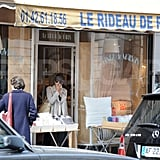 Jessica Biel stopped to grab a bite to eat while shopping in Paris and showing off her engagement ring.