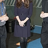 Kate wearing a plum dress and black tights in November 2014.