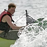 In April 2007, Prince Harry rode a water ski in Barbados.