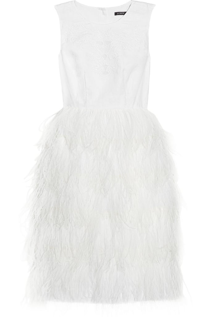 Channel the Louis Vuitton look in this sweet white dress — just pair it with cap-toe heels.  J.Crew Victoria Feather-Skirt Dress ($895)