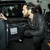 Jude Law hitched a ride after his meal.