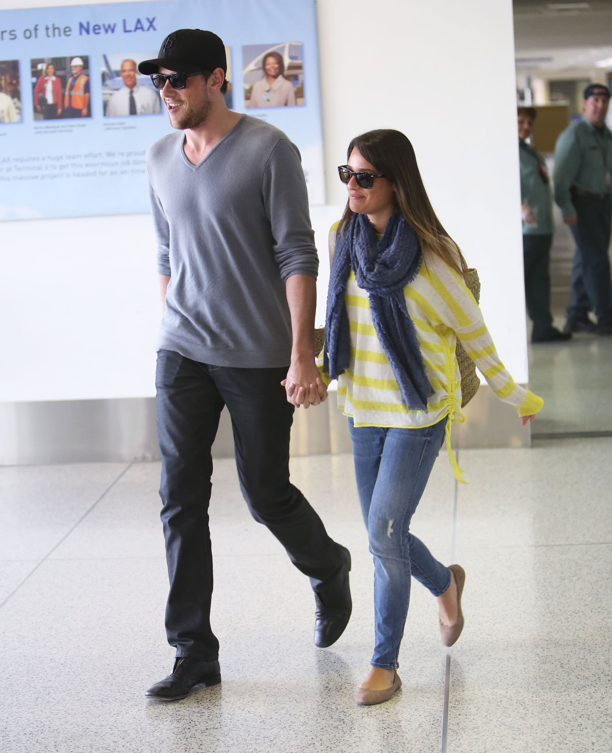 Lea Michele and Cory Monteith looked relaxed as they landed at LAX together.