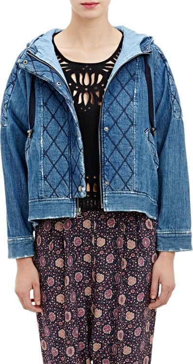 Sea Denim Hooded Swing Jacket-Blue ($595)