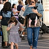 Maggie Gyllenhaal held hands with Ramona and carried Gloria on the set of Very Good Girls in NYC.