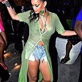 Rihanna's Sheer Green Sweater Dress in Barbados April 2019