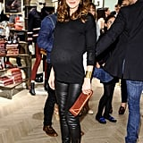 Michelle Monaghan bared her baby bump in leather at the Tommy Hilfiger LA bash.