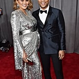 Chrissy Teigen Silver Dress at the Grammys 2018