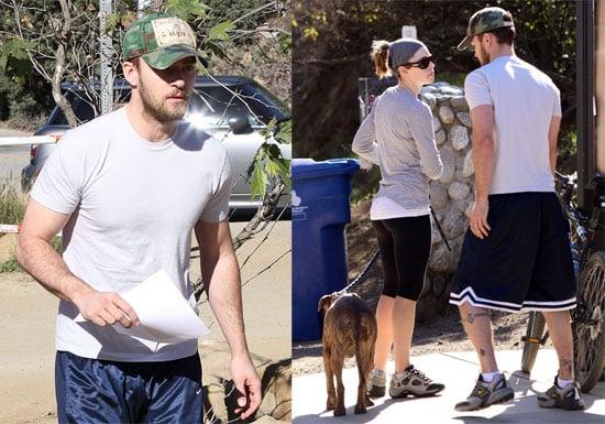 Justin Timberlake and Jessica Biel Walking Their Dog