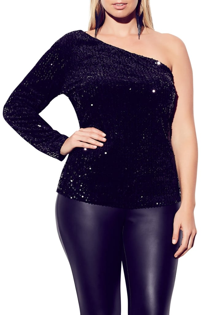 City Chic Disco Fever One-Shoulder Sequin Top