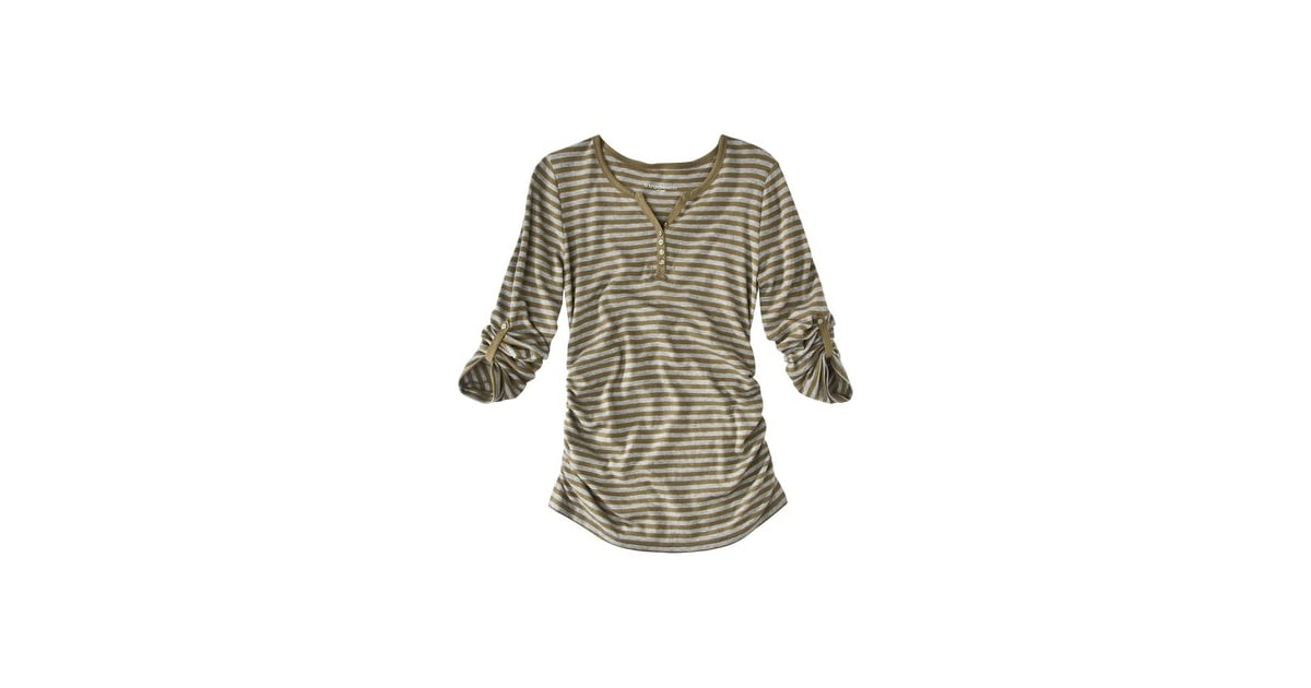 84ce631e75d1e Liz Lange for Target Maternity Long-Sleeve Ruched Henley Tee ($20)   Best  Comfortable Maternity Clothes   POPSUGAR Family Photo 9