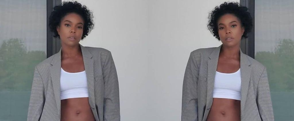 Gabrielle Union Wearing Dwyane Wade's Gray Sweats and Blazer