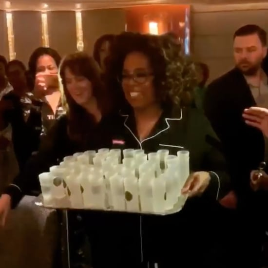 Oprah Passing Out Tequila Shots in Her Pajamas February 2019