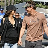 Matthew and pregnant Camila showed their happy sides while out in LA in May 2008.