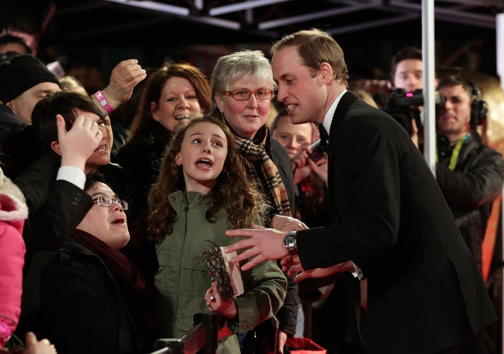Prince William greeted fans at the BAFTAs.