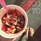 Frozen yogurt and sandals in the city.