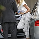 Gwyneth Paltrow wore a white jumpsuit to stop at the Chateau Marmont in LA.