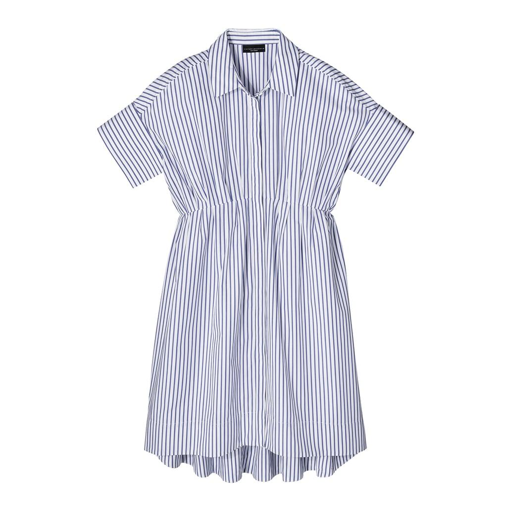 Blue Stripe Poplin Gathered Waist Dress  ($35)
