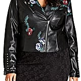 City Chic Embroidered Rose Biker Jacket