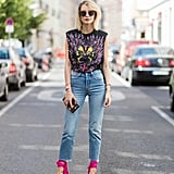 Give Your Vintage Tee a Feminine Touch With Heels
