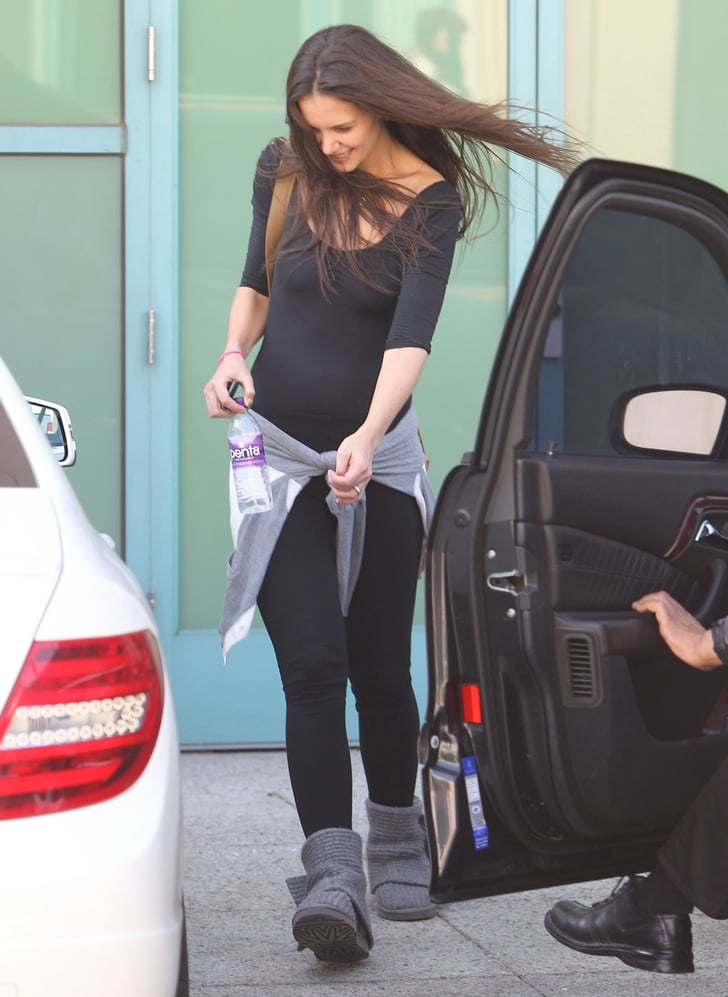 Katie Holmes in a black outfit after dance class.