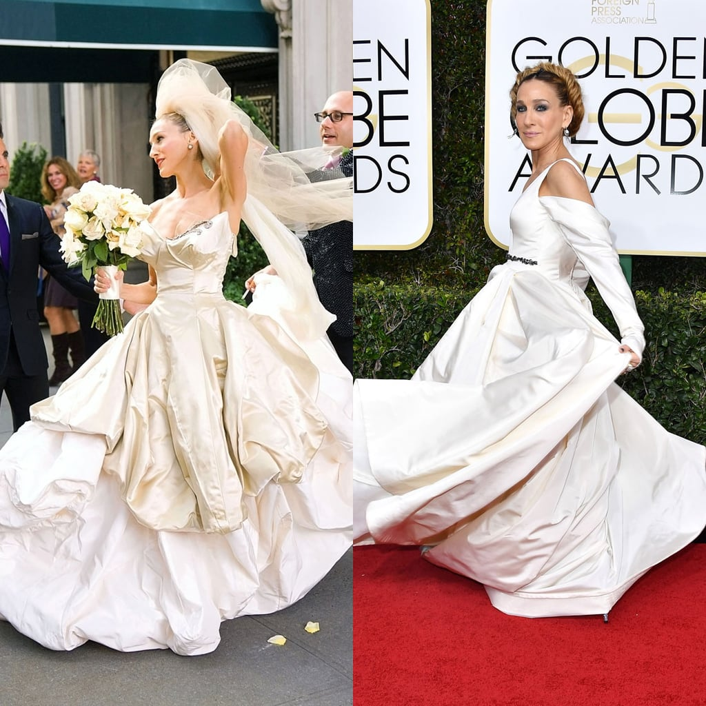 SJPs Globes Dress Will Give You Flashbacks To Carrie Bradshaws Wedding Day