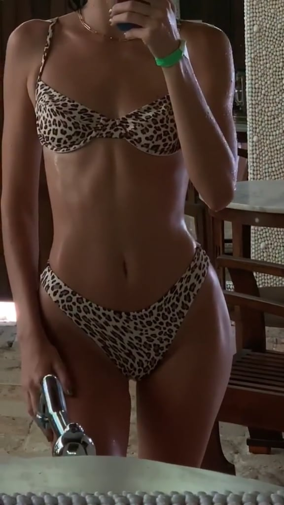 She gave us an even closer look at the leopard detail on this bikini.