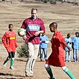 Prince William showed off his skills in a soccer game during a June 2010 visit to a South African children's center.