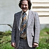 Paul Rudd rocked a mustache as he got into his Brian Fontana character while on the Atlanta set of Anchorman 2 on Thursday.