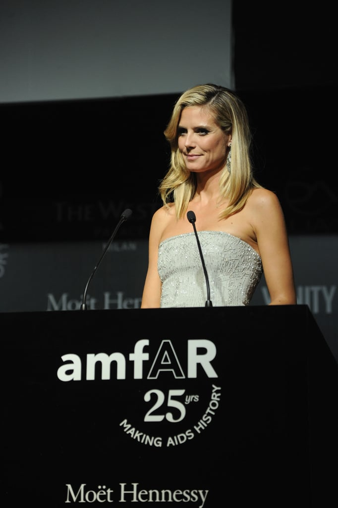 Heidi Klum took to the stage during the dinner.