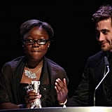 Congolese actress Rachel Mwanza spoke at the closing ceremony of the Berlin International Film Festival with Jake Gyllenhaal.