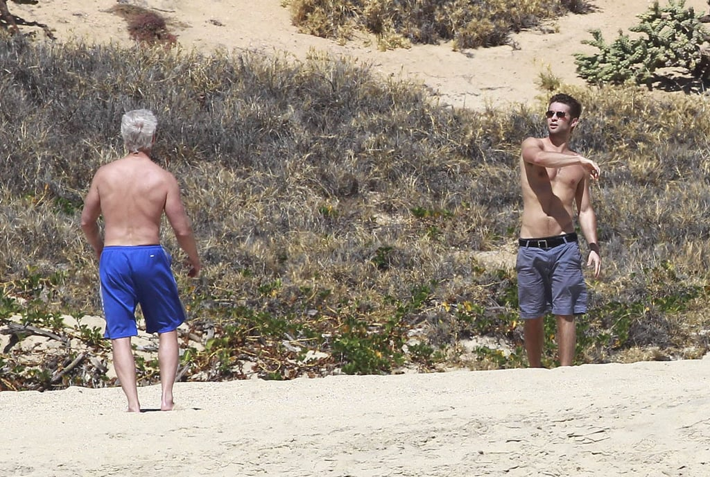 Chace Crawford was shirtless for a football toss.