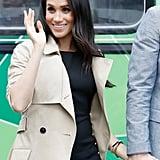 Meghan Markle Black Button Club Monaco Dress