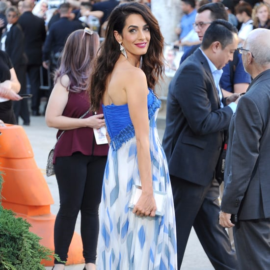 Amal Clooney's Blue Dress at the Suburbicon Premiere