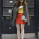 We love the way a military coat tempered a bold colorblocked blouse and mini.