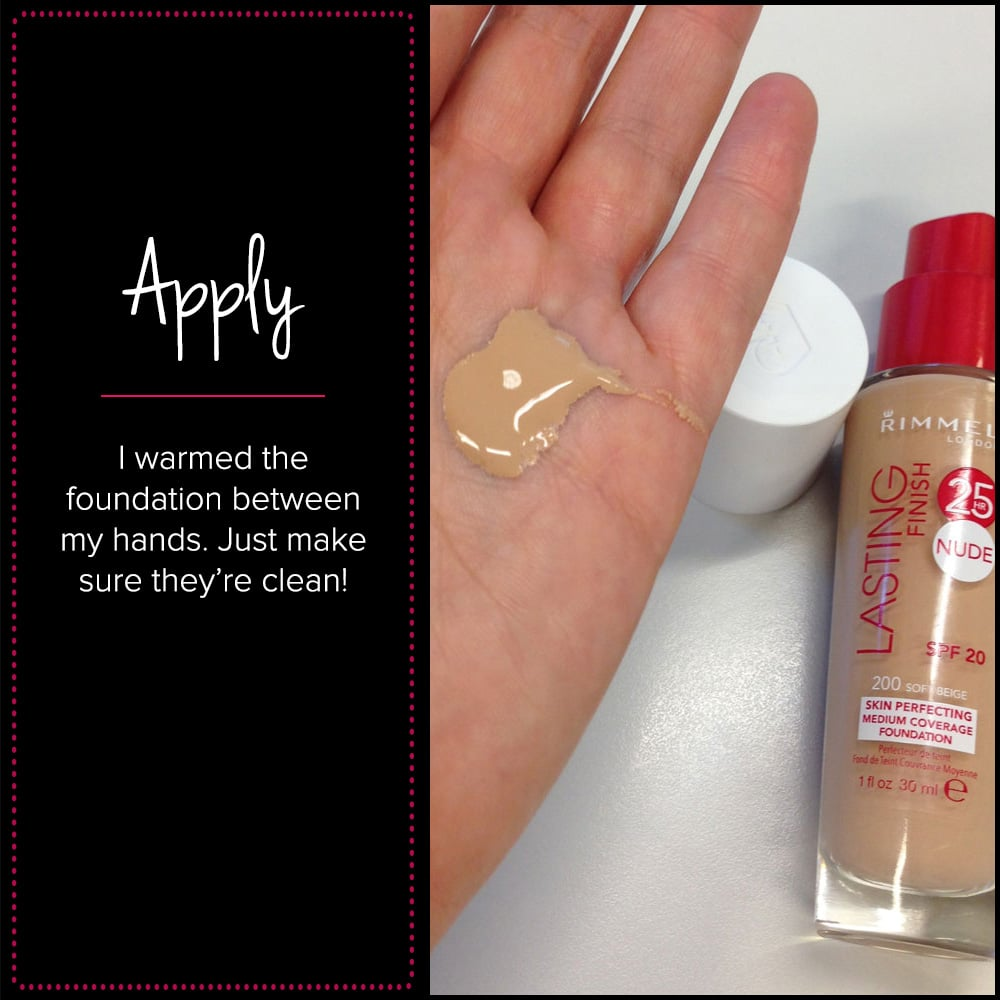 Applied with my hands — I'm so lazy! But I do find foundation is better for my skin pressed on than brushed. On application it was fragrant but not overly so, and very smooth between my hands. I went for Rimmel London Lasting Finish 25 HR Nude Foundation in Soft Beige, which was a lighter shade than I thought I would be. I went for the Nude (medium coverage) over the Lasting Finish 25 HR Foundation with Comfort Serum (full coverage), as I like transparent skin. I like to be able to see my freckles! It blended really easily upon warming between my hands. No hairline issues and I found it to have the same coverage as a good quality BB cream.