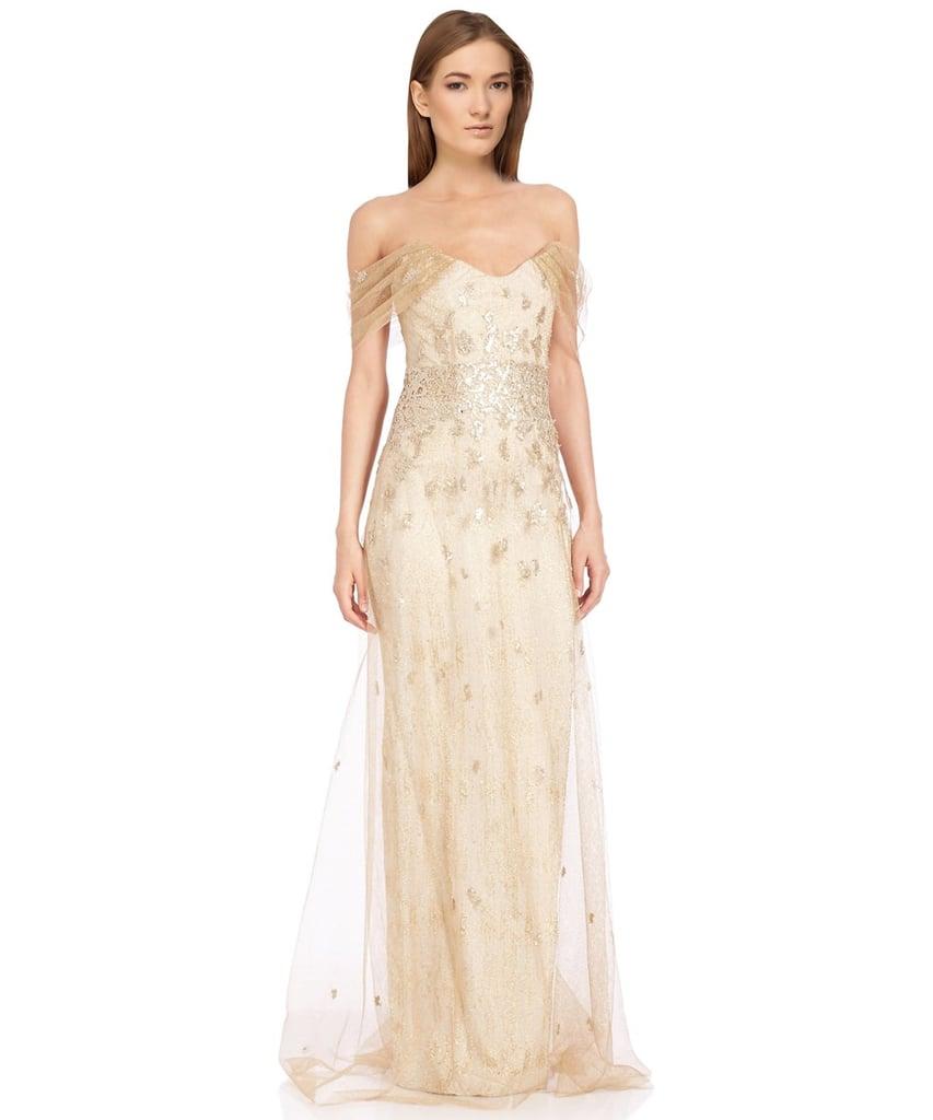 Rene Ruiz Off Shoulder Metallic Jacquard Gown.
