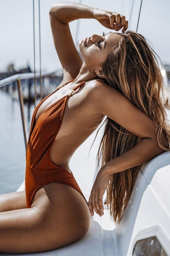 15e77bffdabfd Gooseberry Intimates Deep V One-Piece | Irina Shayk Copper Swimsuit ...