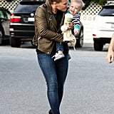 Hilary Duff was playful with little Luca Comrie.