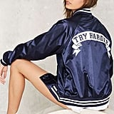 Factory Stay Cute Try Harder Bomber Jacket ($88)