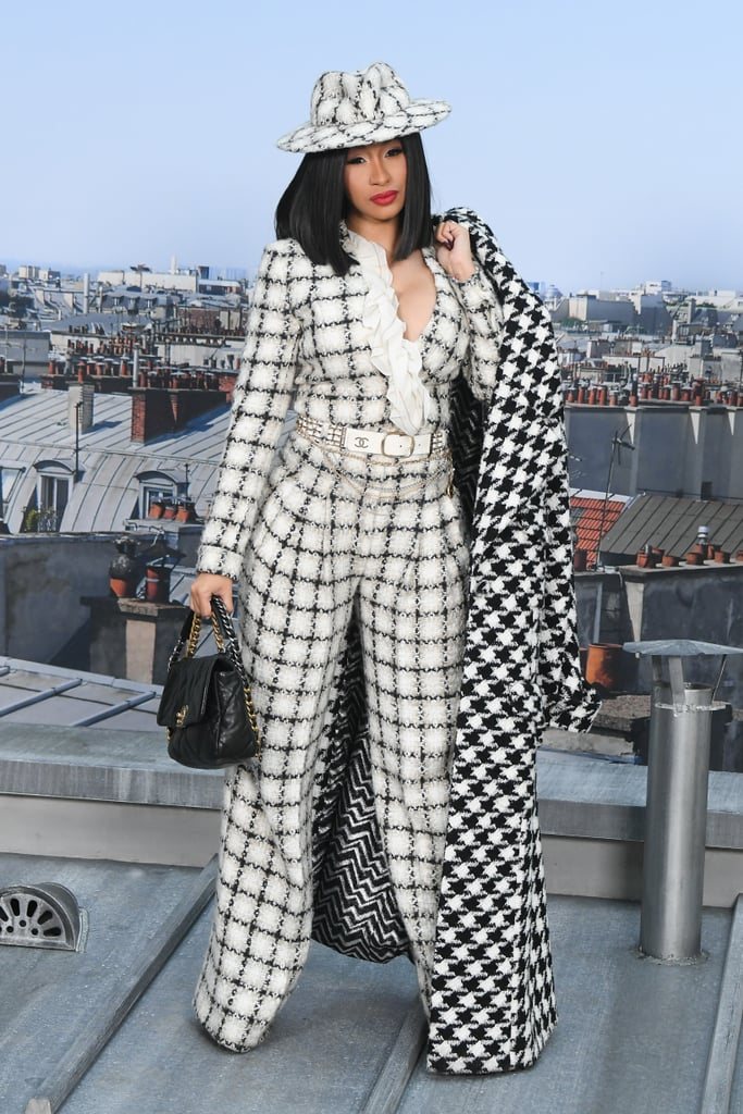 Cardi B in Head-to-Toe Tweed at Chanel Spring 2020 Show
